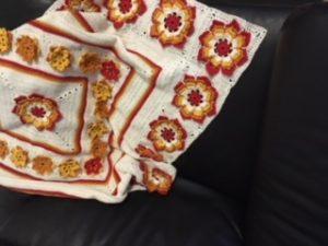 Sunshine flower blanket - adding the big flowers