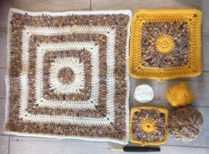 sample squares from salvaged yarn