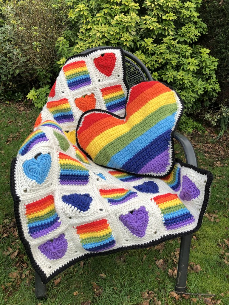 heart full of rainbows cushion and blanket