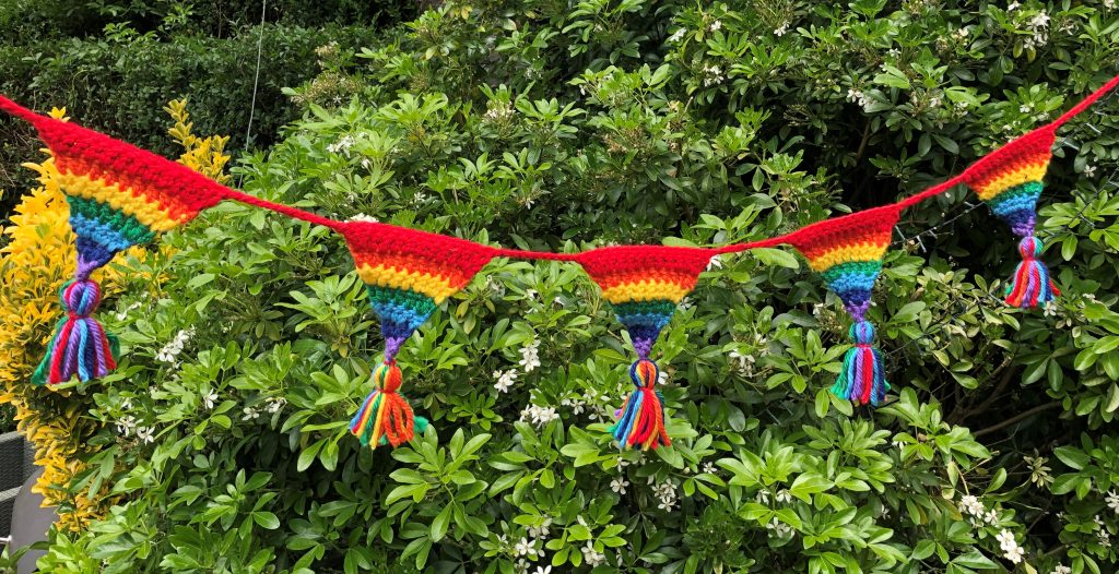 crochet rainbow bunting