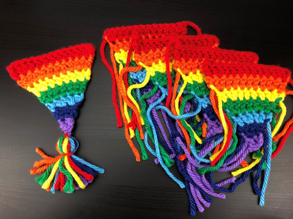 crochet rainbow bunting flags