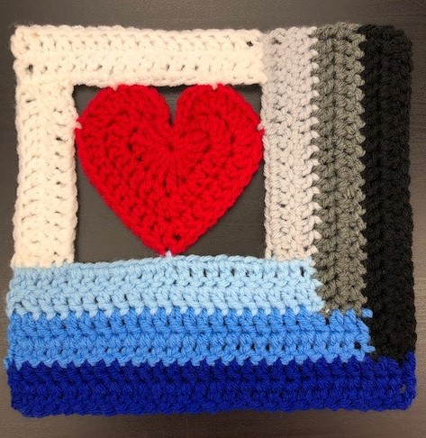 Log Cabin Love crochet block