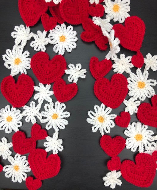 hearts and flowers scarf