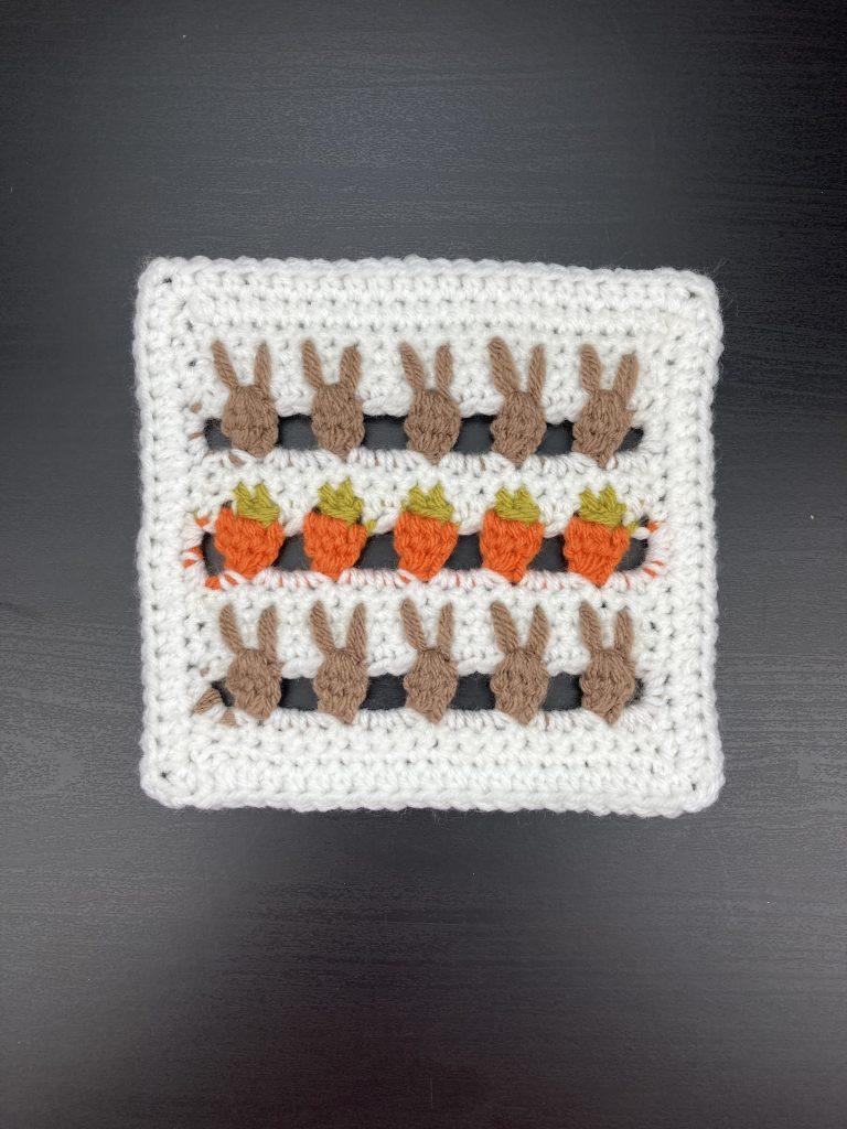 Bunny and Carrot Crochet Block